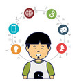 young man avatar character with social media icons vector image