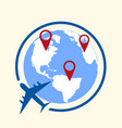 around the world travelling by plane concept vector image