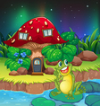 A frog sitting on a waterlily near the mushroom vector image vector image