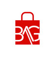 abstract letter bag on shopping bag vector image vector image