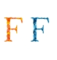 alphabet letters made from orange and blue leafs vector image vector image