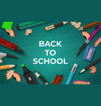 back to school background realistic stationery on vector image vector image