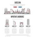 barcelona travel infographics in linear style vector image vector image