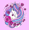 beautiful unicorn head with roses vector image