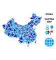 blue triangle china map vector image