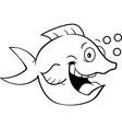 cartoon happy fish with bubbles vector image vector image
