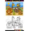 cartoon wild animals coloring page vector image vector image