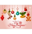 Christmas holiday greeting card with ornaments vector image vector image
