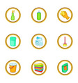 cleaning icons set cartoon style vector image vector image