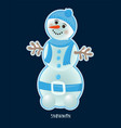 cute birthday baby sticker with snowman vector image vector image