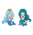 cute little mermaids with turquoise and dark green vector image vector image