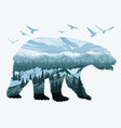 double exposure bear and animal wildlife vector image