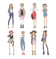 Fashion girls pure beauty colored cartoon sketch vector image