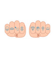 fist with tattoos on fingers skull and brass vector image