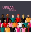 flat of male community with a large group of guys vector image vector image