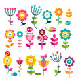 flowers flat design flowers set isolated on white vector image vector image