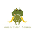 frog with head in form australian map vector image