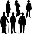 Gentleman and lady silhouettes vector image vector image