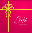 gift yellow narrow ribbon bow with four petals vector image vector image