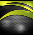 green and black waves on perforated background vector image vector image