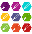 hand holding spatula tool icon set color vector image vector image