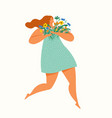 happy girl running with a bouquet flowers vector image vector image