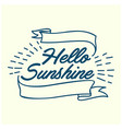 hello sunshine hand drawn calligraphy and brush vector image vector image