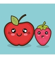 kawaii fruit apple and strawberry graphic isolated vector image
