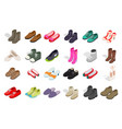 man and woman shoes icon set isometric style vector image