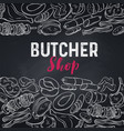 meat product butcher shop poster vector image vector image