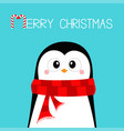 merry christmas penguin wearing red scarf happy vector image vector image