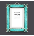 Old Wooden Frame with Cyan Paint vector image vector image