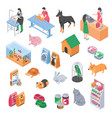 pet shop veterinary grooming icon set vector image vector image