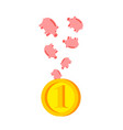 pig piggy vice versa pigs fall in coin vector image vector image