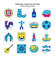 portugal icons set in colored line style vector image