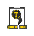 quick taxi mobile application sign in smartphone vector image vector image