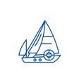 sailboat line icon concept sailboat flat vector image vector image