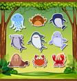 sea creature sticker character vector image vector image