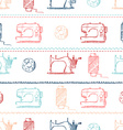 Seamless sewing pattern vector image