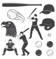 set baseball equipment and gear vector image
