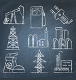 set of energy and electricity hand drawn icons on vector image vector image