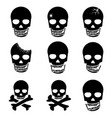 set skull and crossbones icon vector image vector image