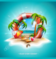 summer holiday with lifebelt vector image vector image