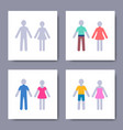 various male and female minimalist icons vector image vector image