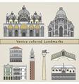 Venice colored Landmarks vector image