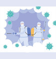 virus disinfection specialists in viral hazard vector image vector image