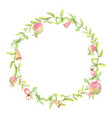 watercolor hand painted pomegranate wreath frame vector image vector image
