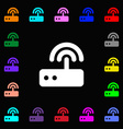 Wi fi router icon sign Lots of colorful symbols vector image