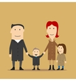Family having fun on a walk in an autumn day vector image