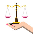 justice scales in woman hand isolated on white vector image